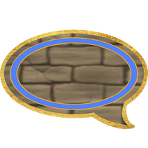 Speech balloon with blue insert, which is used for Princess Emma mood choices