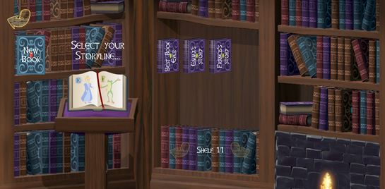 Library showing 3 books on the shelves, entitled: Best Book Ever, Emma's Story, and Francis's Story