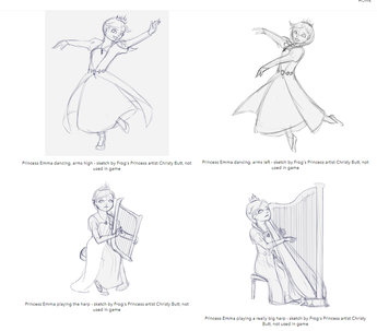 Sketches of Emma dancing and playing harp, not seen in game - copy of images on Fan Art page